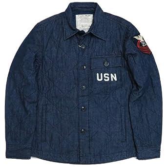 14338c9bb786 Amazon | (アビレックス)AVIREX シャツ ジャケット 長袖 キルティング デニム NAVAL C.P.O 6165143 M  88インディゴ | シャツ 通販