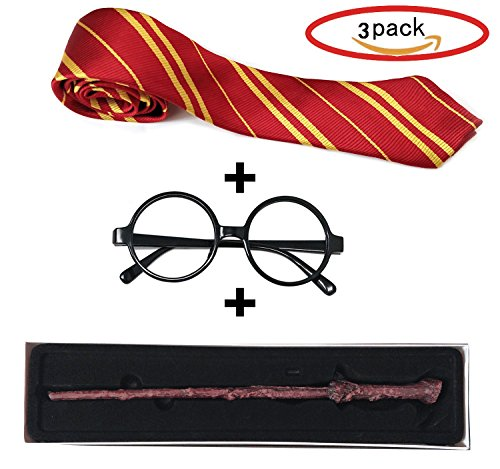 Striped Tie ,Glasses Frame and Magic Wand for Potter Family Cosplay Costumes Accessories for Halloween or Christmas party
