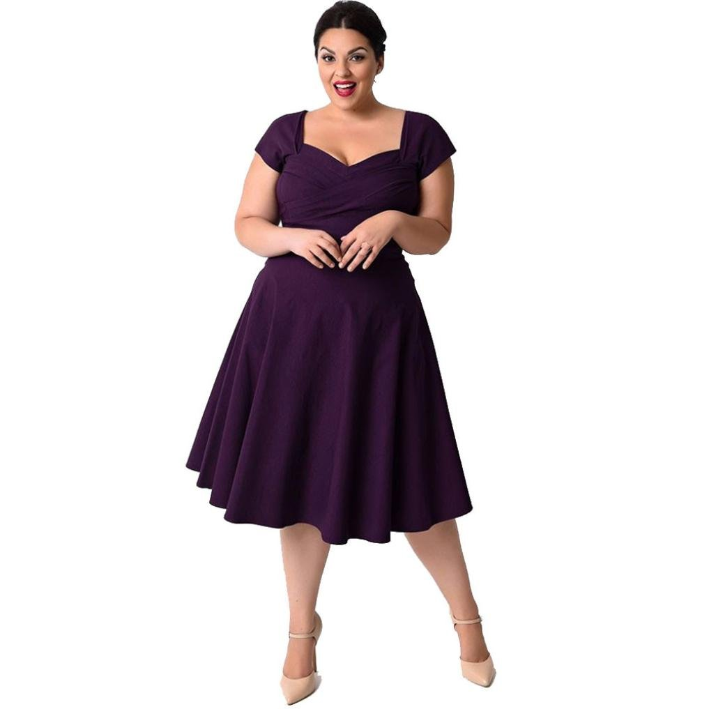 Sumen Plus Size Women Vintage Short Sleeve Cocktail Party Solid Pleated Dress