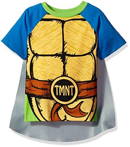 Teenage Mutant Ninja Turtles Little Boys' Toddler T-Shirt with Cape, Blue, 5T (Ninja Turtle Blue)