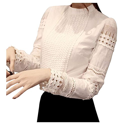 Smile fish Women Hollow Out Back Zipper Lace Long Sleeve Elagent Blouse(S) White