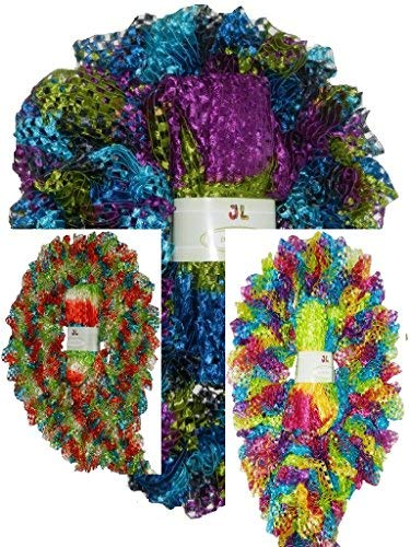 Clearance Pack of 3 Balls Delta 100g Scarf Ruffle Ribbon Yarn 903 (mix7)