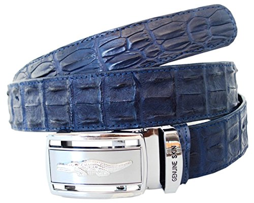 Authentic Sefaro Crocodile Skin Men's Double Rows Backbone Belt (40, Navy Blue)
