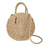 Women Straw Summer Beach Bag Handwoven Round Rattan Bag Cross Body Bag Shoulder Messenger Satchel