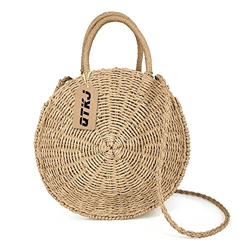 Straw Bag Handbag (Women Straw Summer Beach Bag Handwoven Round Rattan Bag Cross Body Bag Shoulder Messenger Satchel)