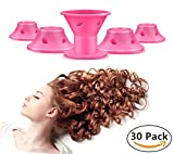 pin curl tool - Hair Care Rollers Soft Hair Roller Silicone Curler for Nice Curls,Professional Hair Style Tool for Natural Waves Pink 30 PCS