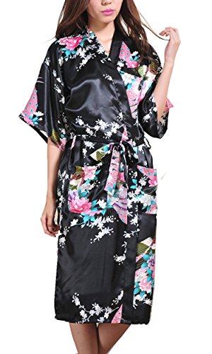 Avidlove Damen Morgenmantel Kimono Robe Bademantel Nachtwäsche aus Satin mit Peacock und Blüten entwerfen Robe Lange Stil