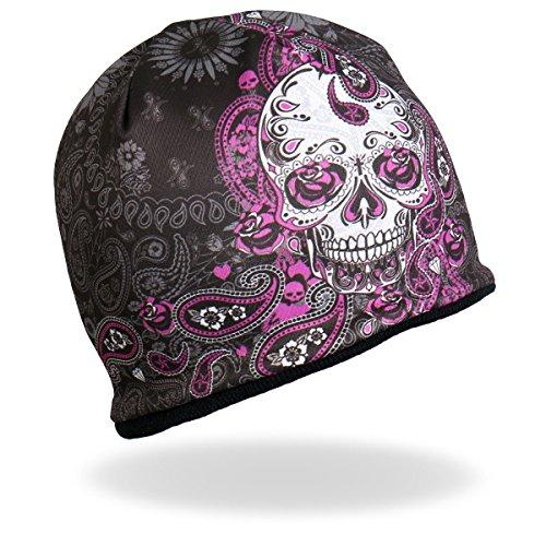 Pink Leather Skull Cap - HD Sublimation Beanie Purple / Pink White Black Sugar Muerte Calavera Skull Paisley Stocking Cap