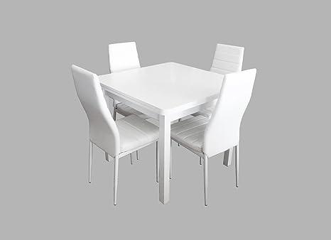 BUDMOSUR Conjunto mesa extensible y 4 sillas de comedor,color blanco ...