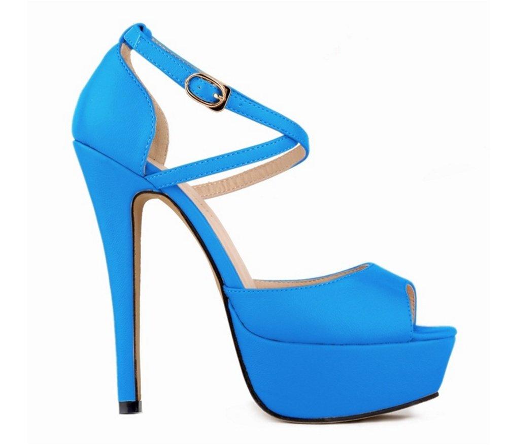 37-bleu OOFAY Chaussures à Talons Hauts Eté Grande Cour Plateforme imperméable à Talons Night Club Poisson Bouche Sandales Femme 35-41