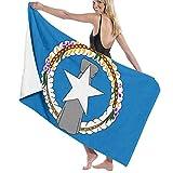 Xiangxin Olp Flag of Northern Mariana Islands Beach Towel Outdoor Travel Rack Swim Micro Fiber Blanket Thin Yoga Mat Cactus Sand Free Lightweight Thin Towel