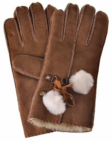 YISEVEN Women's Merino Rugged Shearling Leather Bailey Gloves Sheepskin with Warm Heated Lined and White Furry Balls for Ladies Accessories Winter Dress Driving Work Xmas Gifts, Camel Brown (Classic Shearling Gloves)