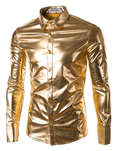 JOGAL Mens Trend Nightclub Styles Metallic Silver Button Down Shirts XX-Large Glod ()