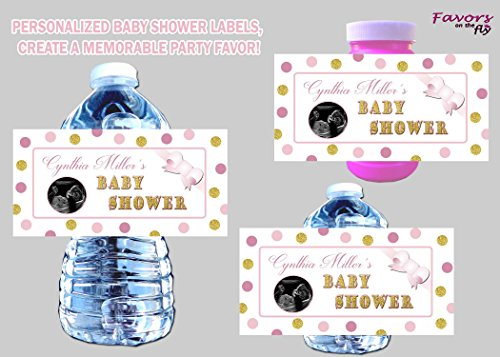 Ultrasound Baby Shower Invitations - 30 Pink & Gold Princess Baby Shower Water Bottle Labels, Bubble Labels, Wine Bottle Labels 4x2 personalized with ultrasound photo- Waterproof!
