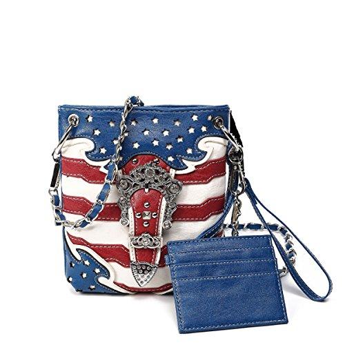 America Rocks Petite American Flag Crossbody Purse, Back Pocket Long Chain Strap