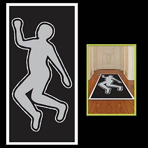 Crime Scene Gag DEAD BODY SILHOUETTE Floor Wall Door Cover Halloween Decoration