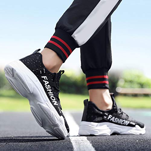 Men's Breathable Knit Sneakers - Stylish Athletic-Inspired Walking Shoes Outdoors Summer Running Trainning Tennis Shoe (Black, US:5.5) by Cealu (Image #7)