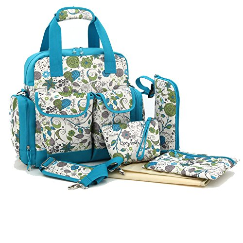 5 in 1 Multifunction Baby Diaper Changing Bag (Light Blue) - 2