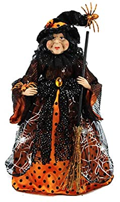 "18"" Orange & Black Tabletop Fabric Halloween Fall Harvest Witch Collectible Figure Figurine 918001"