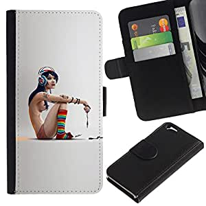 NEECELL GIFT forCITY // Billetera de cuero Caso Cubierta de protección Carcasa / Leather Wallet Case for Apple Iphone 6 // Flaco Emo Chica
