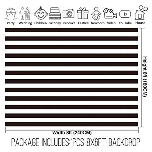 Allenjoy 8x6ft Fabric Black and White Stripes Backdrop for Birthday Wedding Party Dessert Table Decor Studio Photography Pictures DIY Photo Booth Striped Banner Background Baby Bridal Shower Newborn by Allenjoy (Image #1)