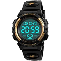 Boys Waterproof Outdoor Sports Watches,Skmei Electronic LED Digital Multifunction Girls Kids Wrist Watch,W/Alarm Back Light (gold)