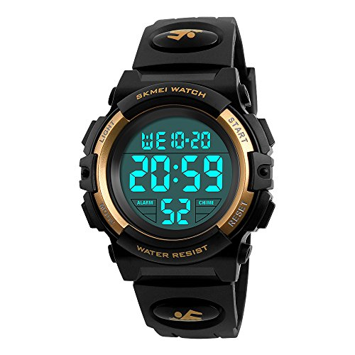 Boys Watches Sport Waterproof Digital Wristwatch for Boys Age 8+ Gold