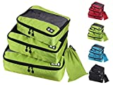 4 Set Packing Cubes,4 Various Sizes Travel Luggage Packing Organizers,Travel Gear (LightGreen)