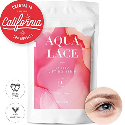 Beauty Logic USA Ultra Invisible Aqua Lace Eyelid Lift Kit 120pcs, Self Adhesive Blends In with Skin No Glare Non Surgical Instant Eyelid Lifting For Hooded Droopy Uneven Mono-Eyelids Latex Free,Large
