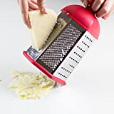 Guteküchen Multipurpose Stainless Steel Box Grater, Slicer And Zester, 6-sided Kitchen Tool With Easy Grip Red Handle And Non-slip Silicone Base For Stability, For Home Kitchen And Professional Use