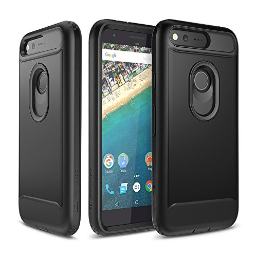 Google Pixel Case, YOUMAKER Slim Fit Full-body Rugged Heavy Duty Protection Cover Case with Built-in Screen Protector and Belt Clip Holster for Google Pixel 5.0 inch (2016 Release) - Black/Black (5 Inch Screen Phone Case)