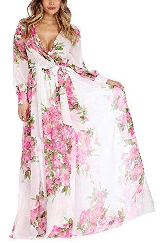 Damen Floral Chiffon Tiefe V Hals Lange Maxi Partei Kleid Rose ...