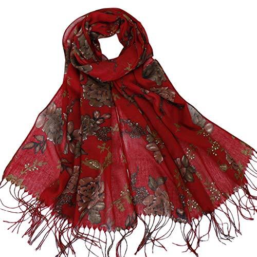 Artificial Cotton Printed Fringed Scarf Shawl, Muslim Fashion Headscarf, Elegant Women Fashion Fringed Printed Cotton Shawl Soft Beach Towel Scarf (Red) ()