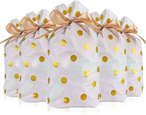 Vasdoo Gold Dot Candy Cookie Bags with Drawstring, Treat Bags Plastic Gift Bags Party Favor Bags for Birthday Party Snack Wrapping Wedding Gift (9.2x6 inches, 24Pcs)