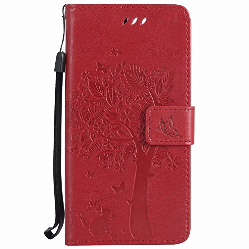 Yiizy Huawei Honor 8 Custodia Cover, Alberi Disegno Design Sottile Flip Portafoglio PU Pelle Cuoio Copertura Shell Case Slot Schede Cavalletto Stile Libro Bumper Protettivo Borsa (Rosso)