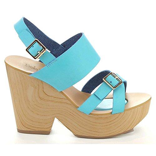 Bella Marie Tara-1 Para Mujer Criss Cross Slingback Faux Wood Sandalias De Tacón Grueso Azul