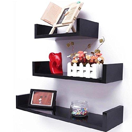 Cheap Keland Set of 3 Floating U Shelves, Wall Mounted Shelves for Bedroom Living Room Office, Black