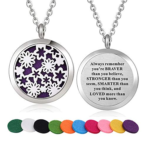 WPFdesign Stainless Steel Floral Aroma Therapy Aromatherapy Essential Oil Diffuser Necklace Locket Pendant (Style 14)