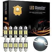 LED Monster 10-Pack Super Bright White 6SMD Canbus Error Free 36MM LED Festoon Bulbs 2835 Chipset for Car Interior License Plate Dome Courtesy Lights 6411 6418 C5W 1.50 6000K Xenon White