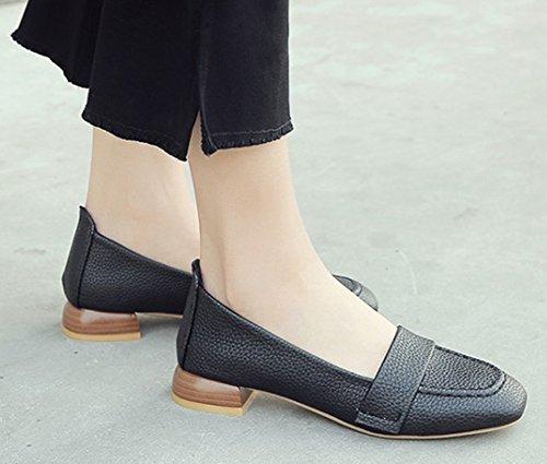 Aisun Womens Simple Casual Low Cut Square Toe Dressy Slip On Chunky Low Heel Pumps Shoes Black Q7toQMGX