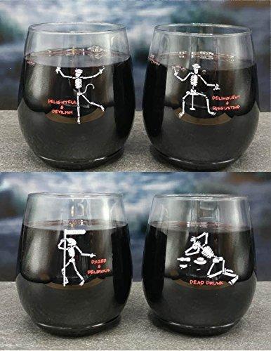 4-pack Wine-Oh! Designer BPA Free Plastic Shatterproof Wine Glass (TIPSY SKELETONS)