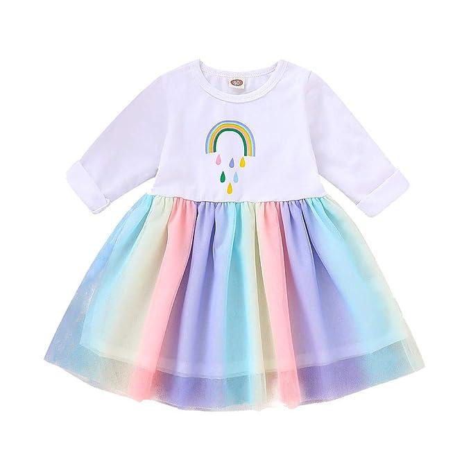 K-Youth Vestidos Niña Kawaii Dulce Arcoiris Tul Ropa Bebe ...