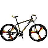 VTSP X3 MTB Mountain Bike Aluminum Frame 21-Speed 26-inch Bicycle Fork Suspension 3-Knife Double Disc Brakes Bicycle Aluminum Racing Bicycle Outdoor Cycling Ships From US Warehouse (yellow)
