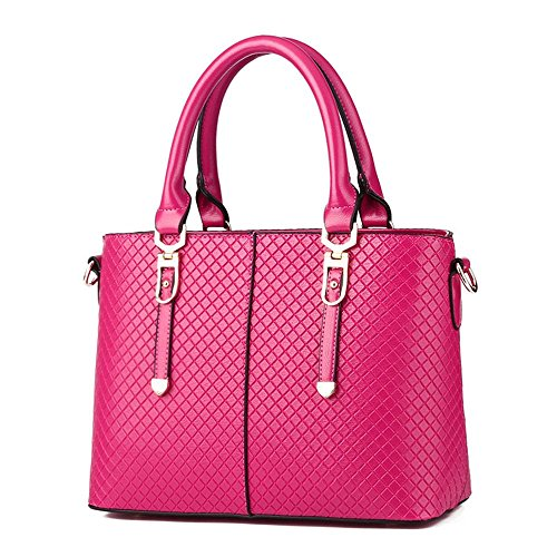 VINICIO Women's The Fashionable Simple Lines The European and American Wind Leather Handbag(RoseRed)