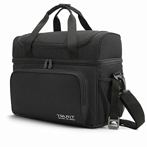 TOURIT Large Lunch Cooler Bag Insulated Travel Cooler Tote Lunch Box Two Insulated Compartment Soft Cooler Bag 21L for Men Women to Picnic, Camping, Beach, Work - Excursion Beach Cooler