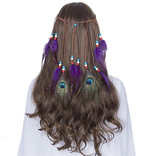 Indian Feather Headband Hair Accessories NEW Festival Women Hippie Adjustable Headdress Boho Peacock Feather Hair Band 8089-b -