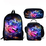 ThiKin Cute Galaxy Wolf School Backpacks for Kids Boy Girls Lightweight Backpack Bookbags Set