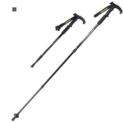 Lmzyan Télescopique pliant en aluminium de randonnée / poteaux de marche, caoutchouc T poignée d'équipement de plein air