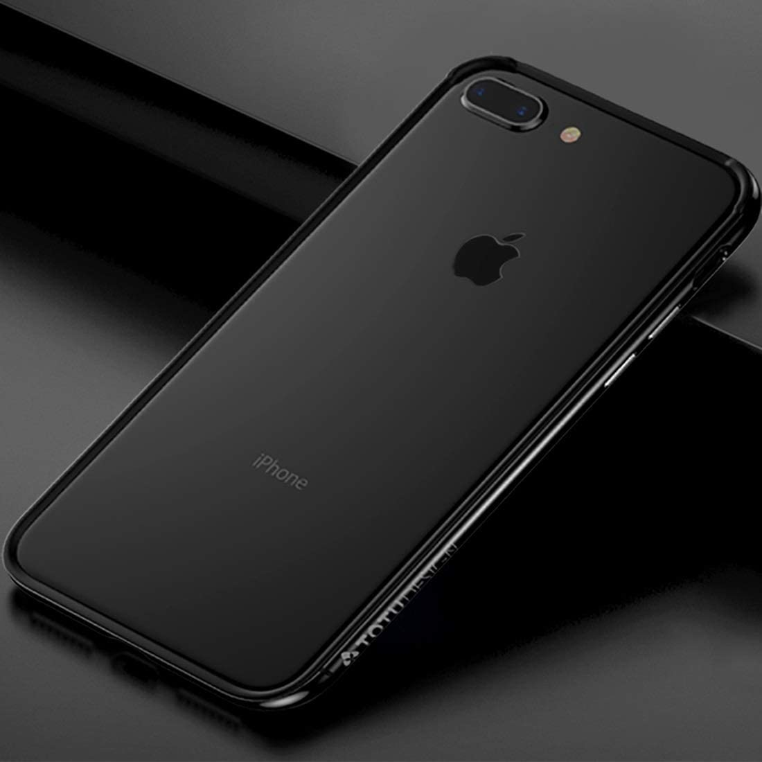 CHAJIJIAO Ultra Slim Case for iPhone 8 Plus & 7 Plus TPU + PC Dropproof Protective Bumper Frame Phone Back Cover (Color : Black)
