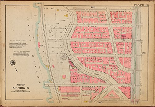 Historic 1921 Map | Plate 163: [Bounded by W. 163rd Street, Broadway, W. 157th Stree | Antique Vintage Map - Broadway 157